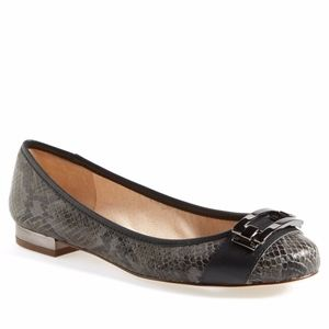 Louise et Cie Aillons Snakeskin Leather Block Flat